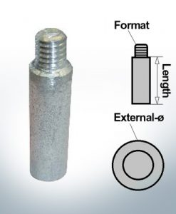 Anodi a spillo 3/8'' compresa la manica Ø13/L45 (Zinco)   9151