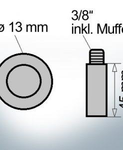 Bolt-Anodes 3/8'' inkl. Muffe Ø13/L45 (Zinc)   9151