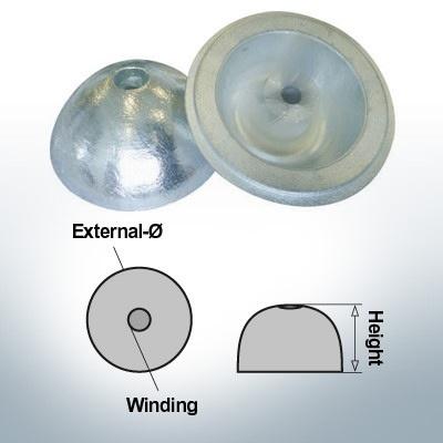 Cappucci a un foro | adatti per VP-104 Ø88/H35 (Zinco) | 9453