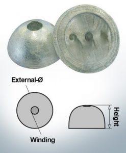 Cappucci a un foro | adatti per VP-64 Ø55/H22 (Zinco) | 9451
