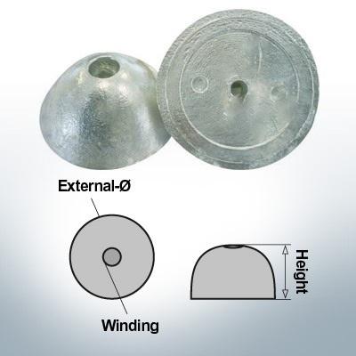 Cappucci a un foro   adatti per VP-76 Ø67/H27 (Zinco)   9452