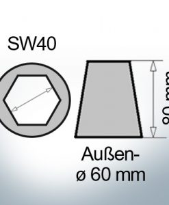 Shaftend-Anodes with hexagon socket SW40 (AlZn5In) | 9421AL