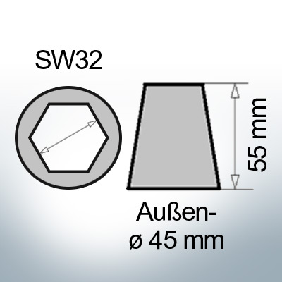 Shaftend-Anodes with hexagon socket SW32 (AlZn5In) | 9463AL